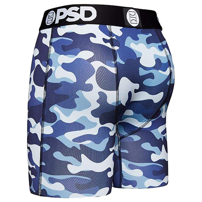 PSD Mens Camo Warface Print Blue Stretch Elastic Wide Band Breathable Boxer Brief with 7 inch Inseam Underwear- E12011027-BLU-XXL