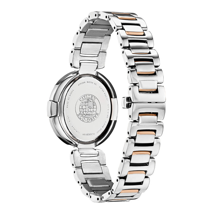 Citizen Capella Womens Silver Stainless Steel Band Black Quartz Dial Watch - EX1516-52E