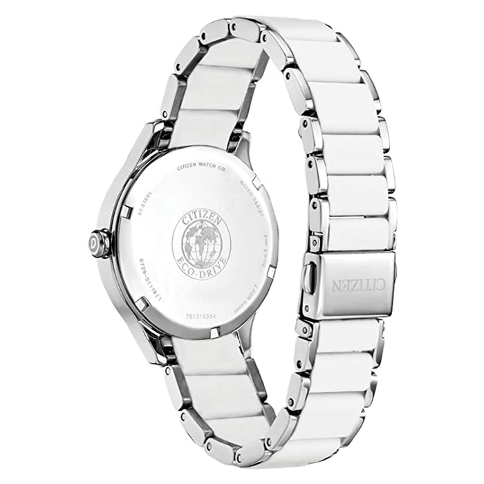Citizen Womens Drive Eco- Drive White Dial Two Tone Stainless Steel Strap Watch - FE7070-52A