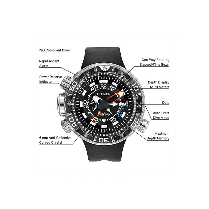 Citizen Mens Stainless steel Promaster Aqualand Depth Meter Black Watch - BN2029-01E