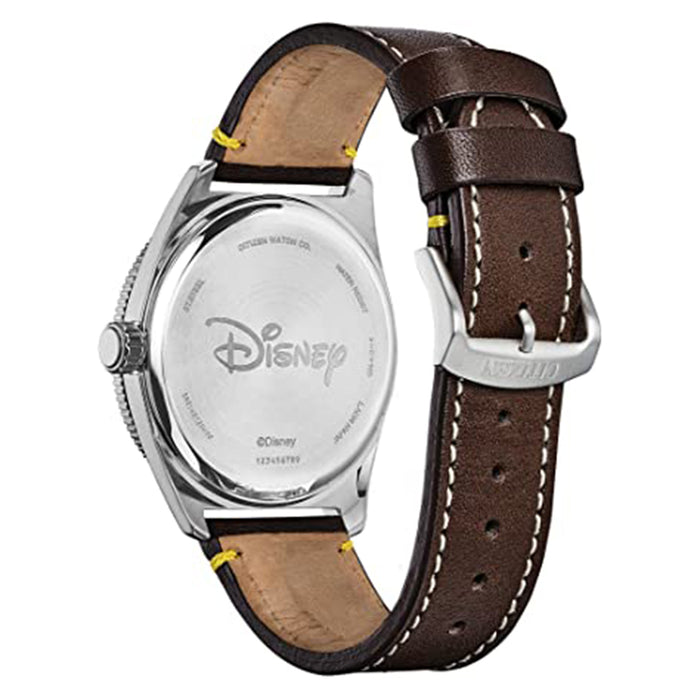 Citizen Mens Eco-drive Disney Mickey Mouse Blue Dial Brown Strap Watch - AW1599-00W