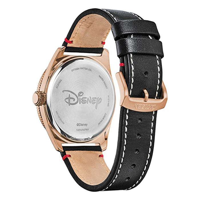 Citizen Mens Mickey Mouse & Friends Black Dial Stainless Steel Quartz Leather Calfskin Strap Casual Watch - AW1596-08W