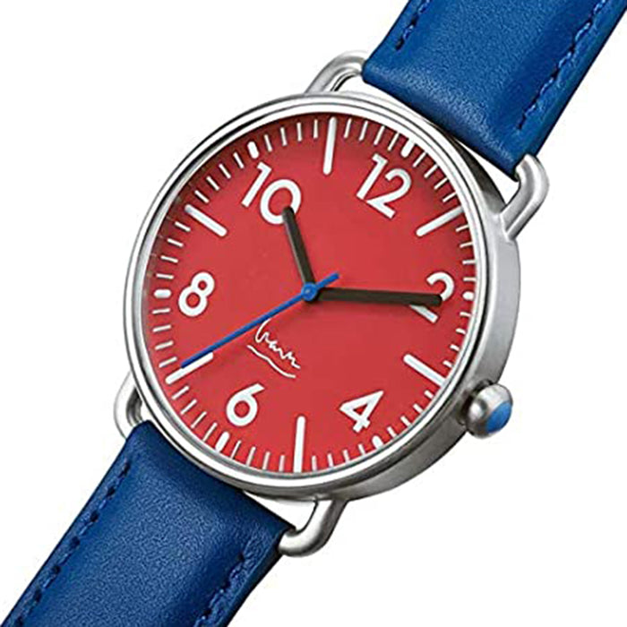 Projects Unisex Blue Dial Leather Band Watch - 7112R