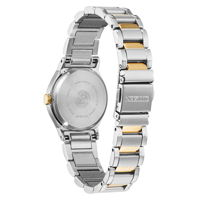 Citizen Eco-Drive Womens Silver/Gold Stainless Steel Band Mother of Pearl Quartz Dial Watch - EM0734-56D