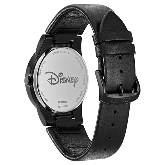 Citizen Mens Mickey Mouse Eco Drive Black Dial Band Leather Watch - AU1069-06W
