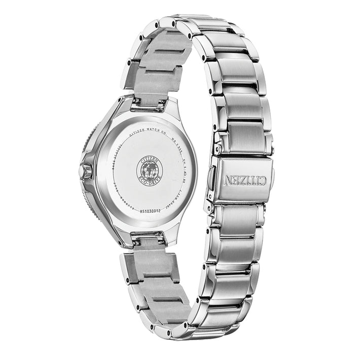 Citizen Eco-Drive Womens Silver Stainless Steel Band Black Quartz Dial Watch - FE1190-53E