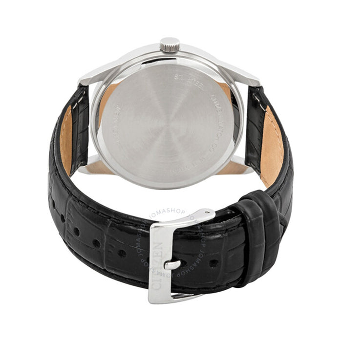 Citizen Mens Silver Stainless Steel Case Black Leather Strap White Dial Watch - BI5000-01A