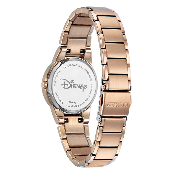 Citizen Eco-Drive Disney Mickey Mouse Womens Rose Gold Stainless Steel Band Black Quartz Dial Watch - GA1056-54W