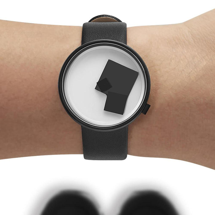Projects Unisex Bauhaus Century Black Leather Band White Analog Dial Quartz Watch - 7289B-BL - WatchCo.com