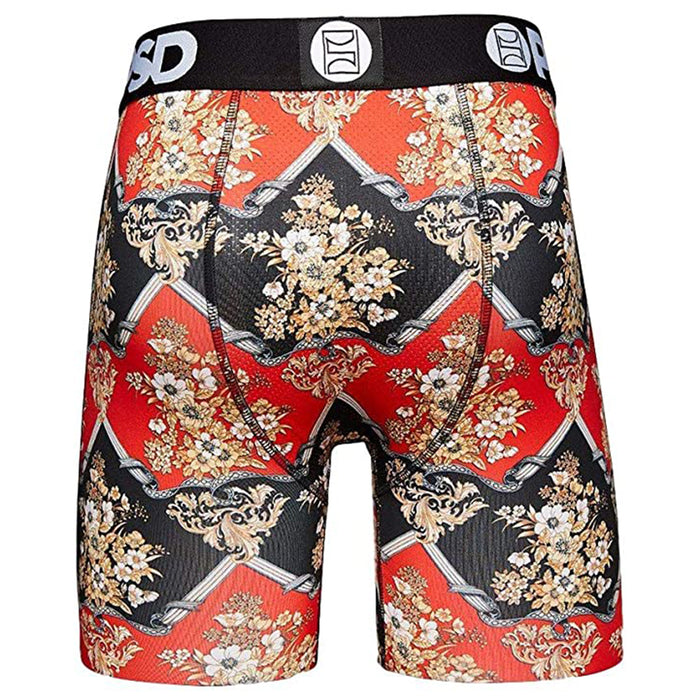 PSD Mens Lux Floral Flowers Luxury Urban Athletic Black Boxer Brief Breeathable Underwear - E12011048-BLK-M