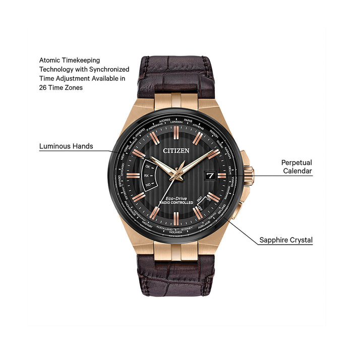 Citizen Eco-Drive A-T Mens Brown Leather Band Black Quartz Dial Watch - CB0168-08E
