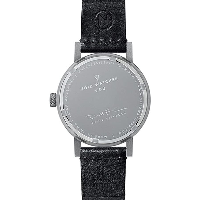 Void Unisex Stainless Steel Case and Black Leather Strap White Dial Silver Watch - V03B-BR/TB/WH