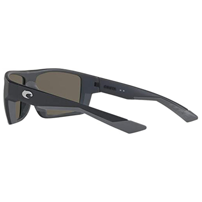 Costa Del Mar Mens Bloke Rectangular Matte Black Blue Mirrored Polarized Sunglasses - BLK124OBMGLP