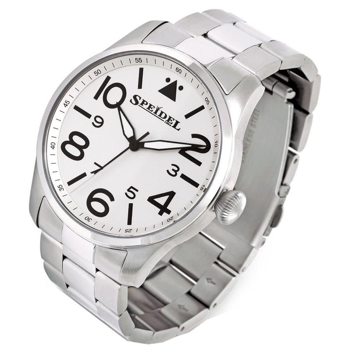 Speidel Mens White Stainless Steel Luminous Hands Band Quartz Dial Watch - 603392305 - WatchCo.com