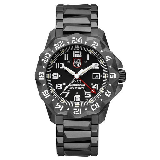 Luminox Men's F-117 Nighthawk 6420 Series Stainless Steel Bracelet Black Analog Dial Quartz Watch - XA.6422 - WatchCo.com