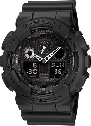 Casio Mens G-Shock X-Large G Stainless Watch - Black Rubber Strap - Black Dial - GA100-1A1 - WatchCo.com