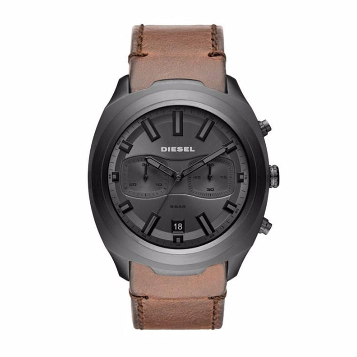 Diesel Mens Brown Leather Band Three-Hand Grey Quartz Dial Watch - DZ4491 - WatchCo.com