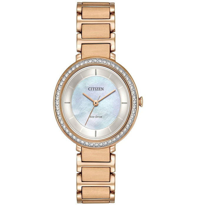 Citizen Womens Rose Gold-Toned Stainless Steel Strap Pearl Quartz Dial Silhouette Crystal  Watch - EM0483-54D - WatchCo.com