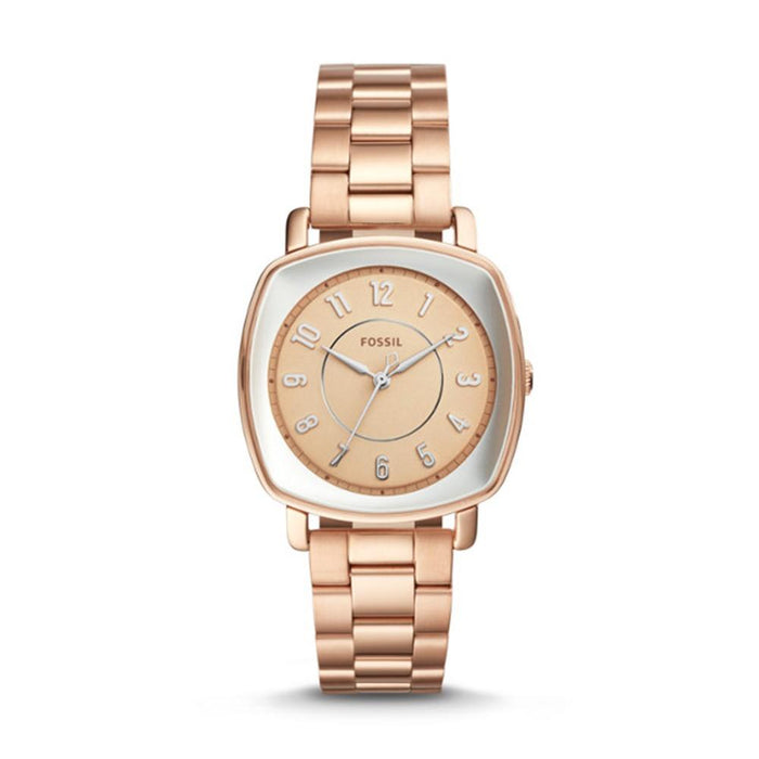 Fossil Idealist Mens Rose Stainless Steel Band Gold-Tone Dial Watch - ES4195 - WatchCo.com