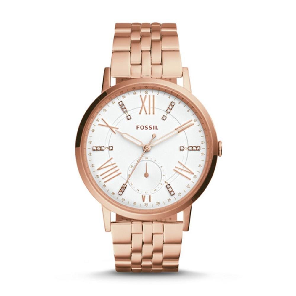 Fossil Gazer Multifunction Mens Rose Gold-Tone Stainless Steel Band Silver Dial Watch - ES4246