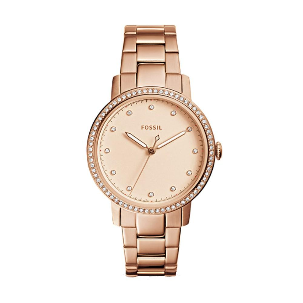 Fossil Neely Womens Rose Gold-Tone Stainless Steel Band Three-Hand Quartz Dial Watch - ES4288