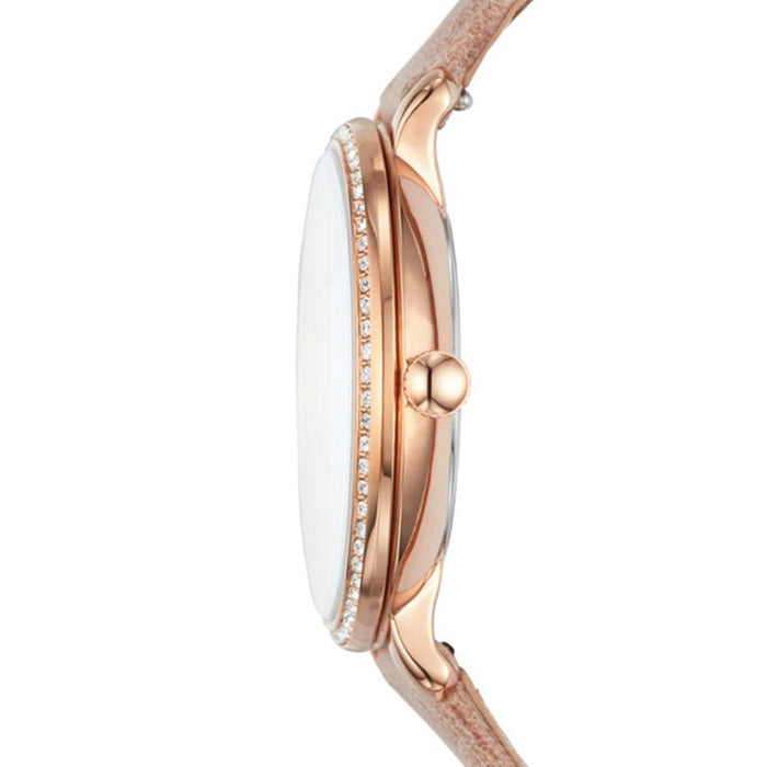 Fossil Jacqueline Womens Nude Leather Band Rose Gold Quartz Dial Watch - ES4292 - WatchCo.com