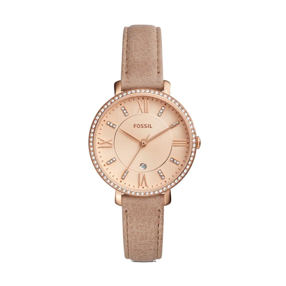 Fossil Jacqueline Womens Nude Leather Band Rose Gold Quartz Dial Watch - ES4292
