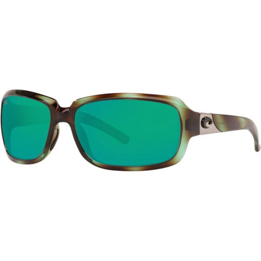 Costa Del Mar Womens Isabela Shiny Seagrass Frame Green Mirror Polarized Lens Rectangular Sunglasses - IB128OGMGLP - WatchCo.com