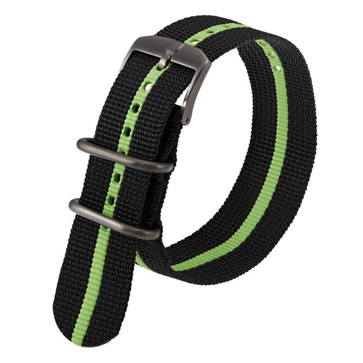 Luminox Men's Black & Green Webbing NATO Nylon Strap Stainless Steel 2 loops Watch Band - FNX.3950.60H.K - WatchCo.com