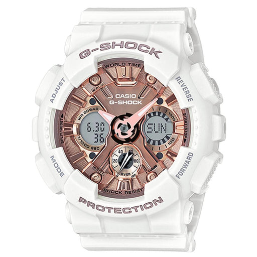 Casio G-Shock Mens White Resin Band Brown Dial Ana-Digi Smart Watch - GMAS120MF-7A2 - WatchCo.com