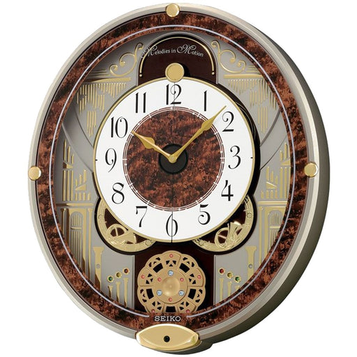 Seiko Melodies in Motion Wall Glass Clock - Gold Hands - Wood Dial - QXM265BRH