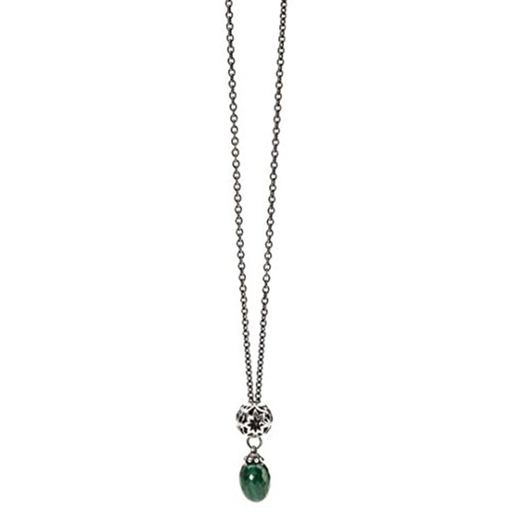 Trollbeads 925 Green Malachite Stone Sterling Silver Wishful Silver Necklace  80cm - TAGBO-00126
