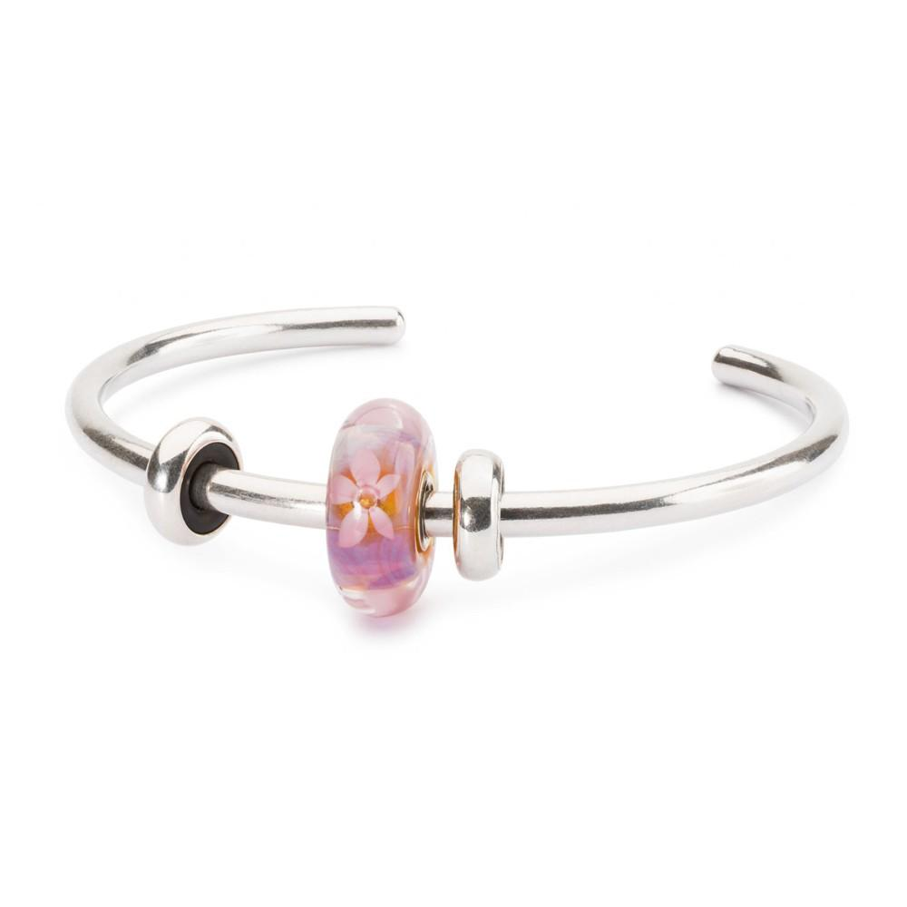 Trollbeads 925 Glass Pink Soft Sunrise Bead Bangle Sterling Silver Bracelet XS - TAGBO-00231