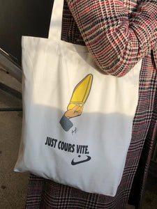 "Tote bag ""Just cours vite"" - Ghazel"