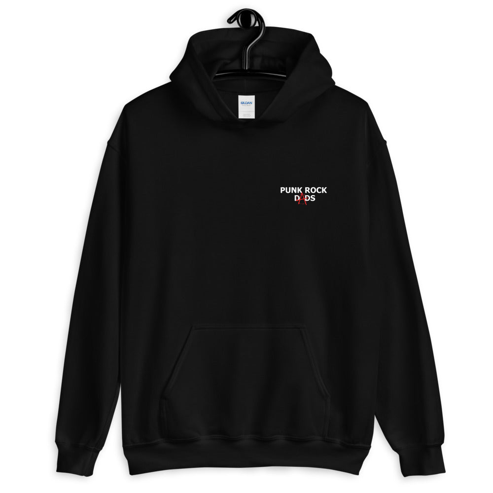 Pullover Hoodie White PRD Logo with back print. - Punk Rock Dads