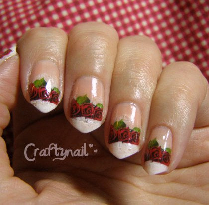 3 Red Roses Waterslide Nail Decals (photo courtesy of Crafty Nails)