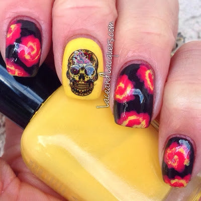 Red Rose Sugar Skull Nail Decal