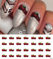 "3 Red Roses Nail Decals - 28 decals (5 1/2"" x 3"" sheet)"