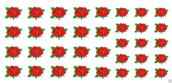 Red Rose Nail Art Decals