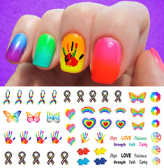 "Autism Awareness Ribbon Nail Decals Set #3 - 5 1/2"" x 3"" sheet)"