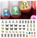 Autism Awareness Ribbon Nail Art Decals Set #2