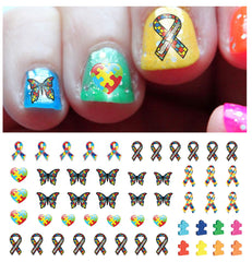 "Autism Awareness Ribbon Nail Decals Set #2 - 48 decals (5 1/2"" x 3"" sheet)"