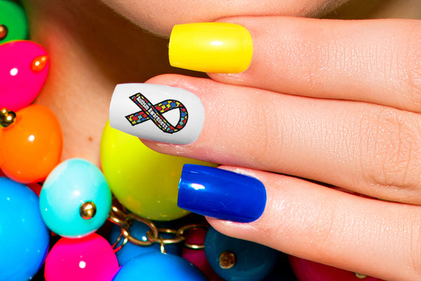 Autism Awareness Ribbon Nail Art Decals Set #3