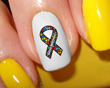 Autism Awareness Ribbon Nail Decals