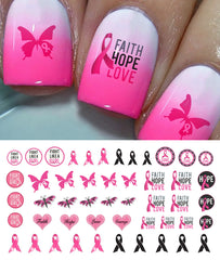 Breast Cancer Awareness Nail Decals Set #3