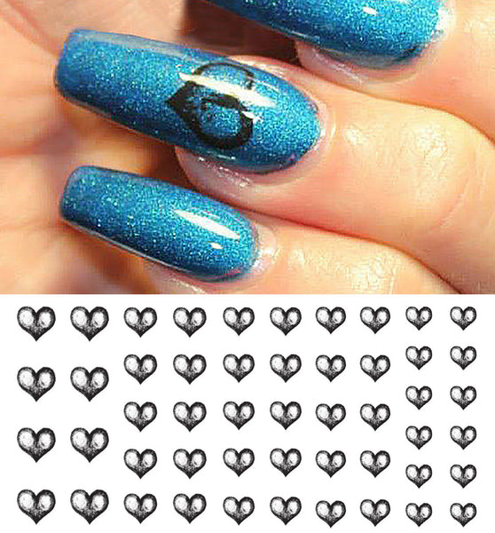 Black Heart Nail Art Decals