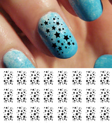Black Stars Nail Decals