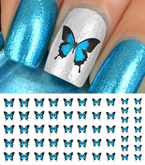 Blue Butterfly Nail Decals