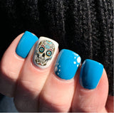 Blue Cross Sugar Skull Nail Decals