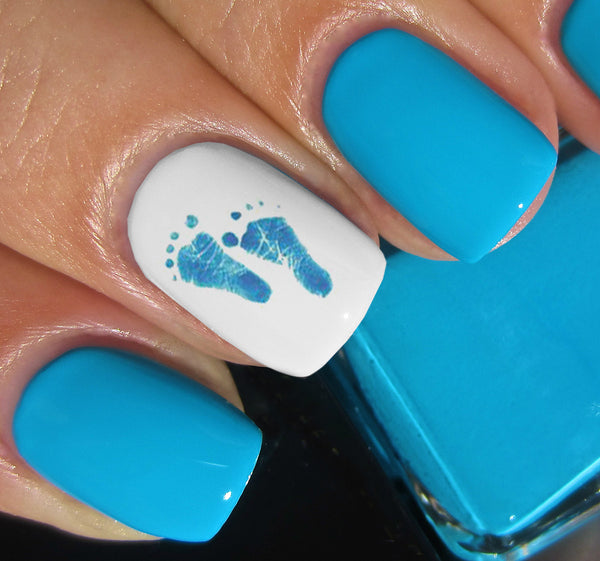"Blue Baby Footprints Nail Decals - 40 decals (5 1/2"" x 3"" sheet)"